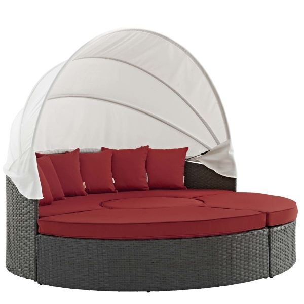 EEI-1986-CHC-RED Sojourn Outdoor Patio Sunbrella® Daybed