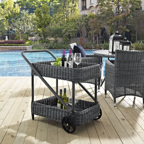 Summon Outdoor Patio Beverage Cart Gray