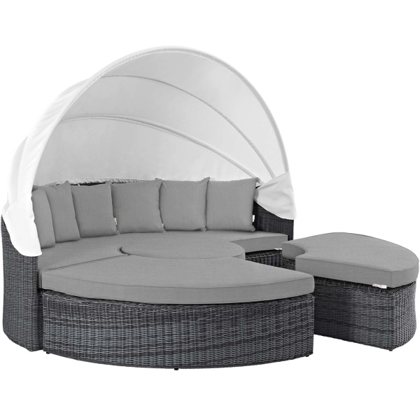 EEI-1997-GRY-GRY Summon Canopy Outdoor Patio Sunbrella® Daybed
