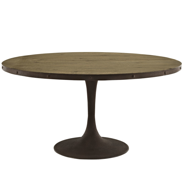 "Drive 60"" Round Wood Top Dining Table Brown"