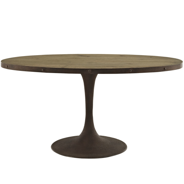 "Drive 60"" Oval Wood Top Dining Table Brown"