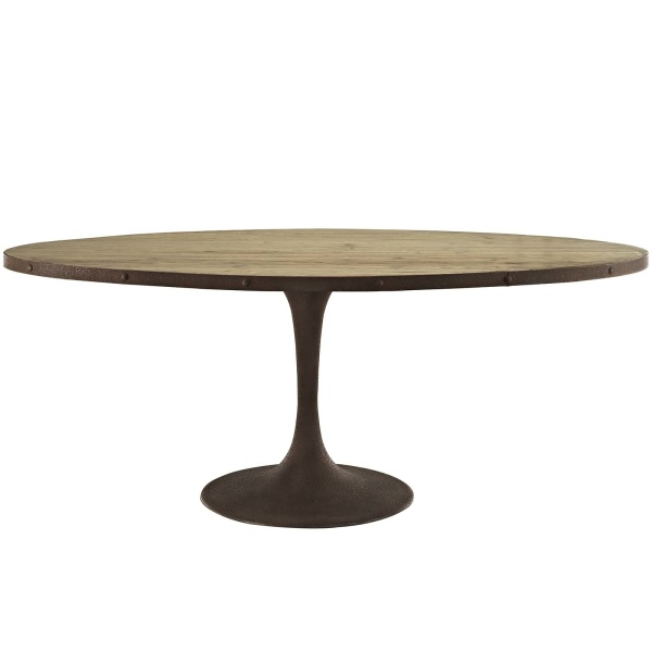 "Drive 78"" Oval Wood Top Dining Table Brown"