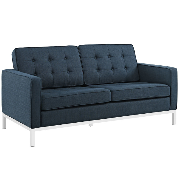 Loft Upholstered Fabric Loveseat Azure