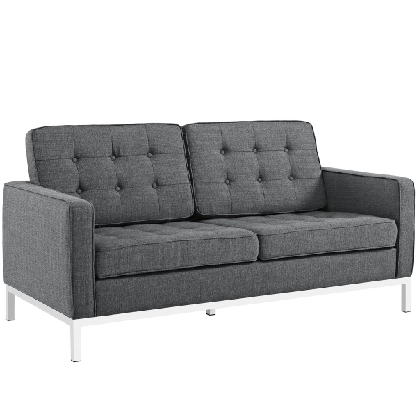 Loft Upholstered Fabric Loveseat Gray