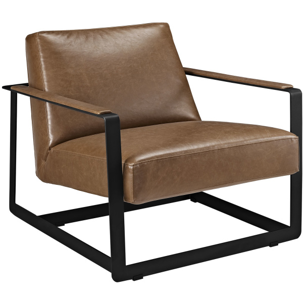 Seg Upholstered Vinyl Accent ArmChair Brown