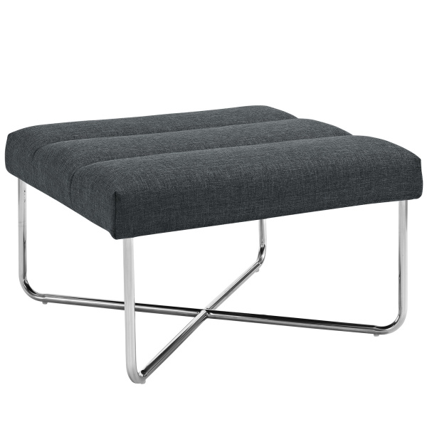 Reach Upholstered Fabric Ottoman Gray