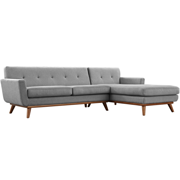Engage Right-Facing Sectional Sofa Expectation Gray