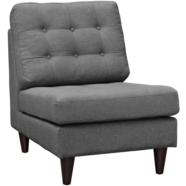 EEI-2140-DOR Empress Upholstered Fabric Lounge Chair Gray