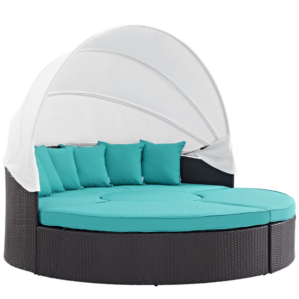 EEI-2173-EXP-TRQ-SET Convene Canopy Outdoor Patio Daybed Espresso Turquoise