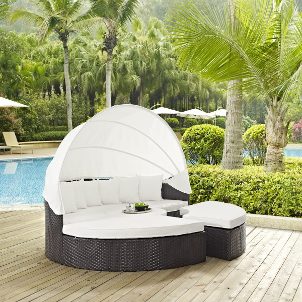 EEI-2173-EXP-WHI-SET Convene Canopy Outdoor Patio Daybed Espresso White
