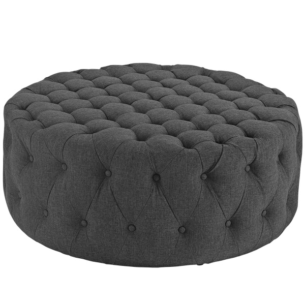 Amour Upholstered Fabric Ottoman Gray