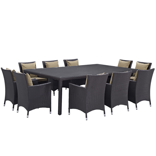 Convene 11 Piece Outdoor Patio Dining Set Arm Chairs