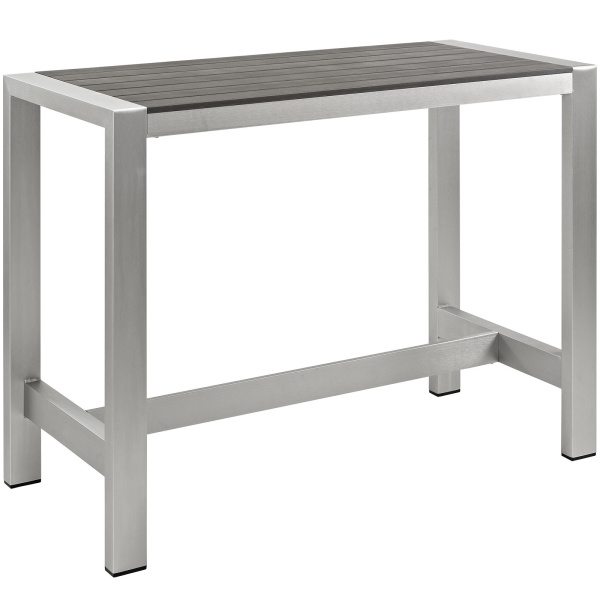 Shore Outdoor Patio Aluminum Rectangle Bar Table Silver Gray