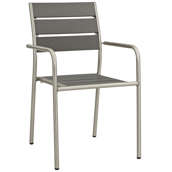 EEI-2258-SLV-GRY Shore Outdoor Patio Aluminum Dining Rounded Armchair Silver Gray