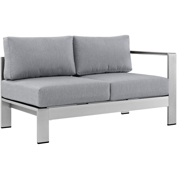 EEI-2262-SLV-GRY Shore Right-Arm Corner Sectional Patio Aluminum Loveseat Arm Chair