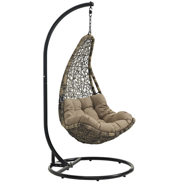 EEI-2276-BLK-MOC-SET Abate Outdoor Patio Swing Chair With Stand