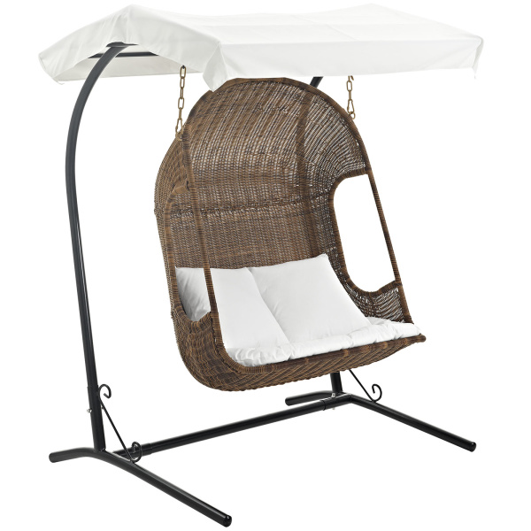 EEI-2278-BRN-WHI-SET Vantage Outdoor Patio Swing Chair With Stand Brown White