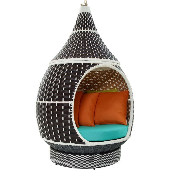 EEI-2302-BRN-TRQ Palace Outdoor Patio Wicker Rattan Hanging Pod