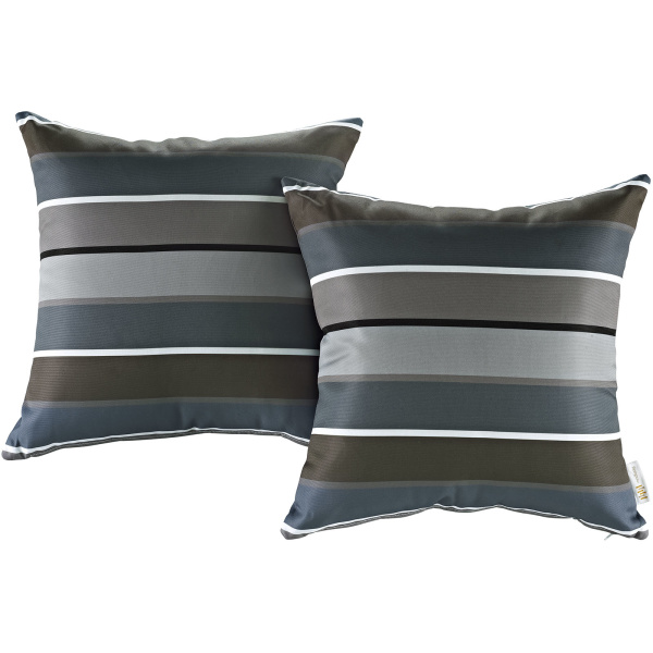 Modway Two Piece Outdoor Patio Pillow Set Stripe