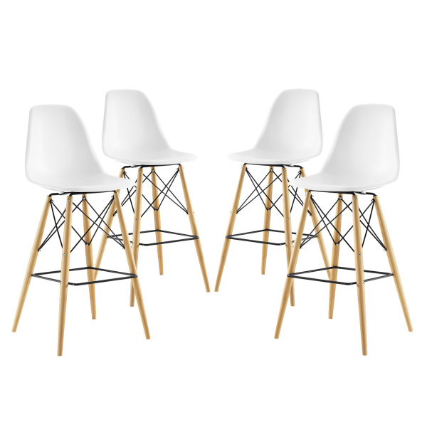 Pyramid Dining Side Bar Stool Set of 4 White