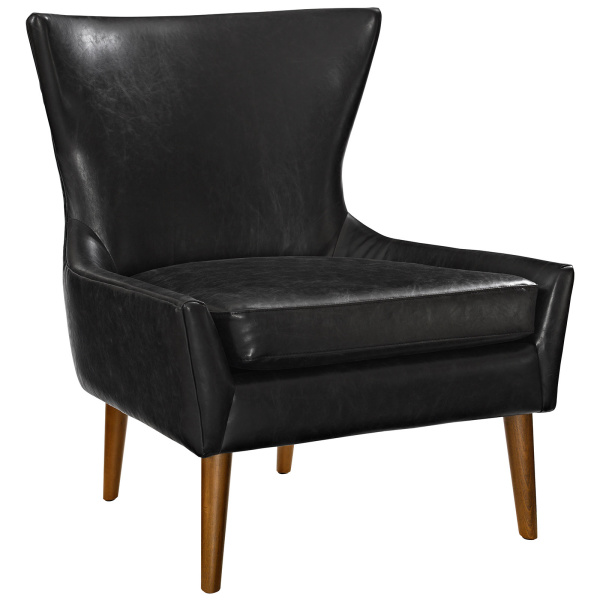 Keen Upholstered Vinyl Armchair Black