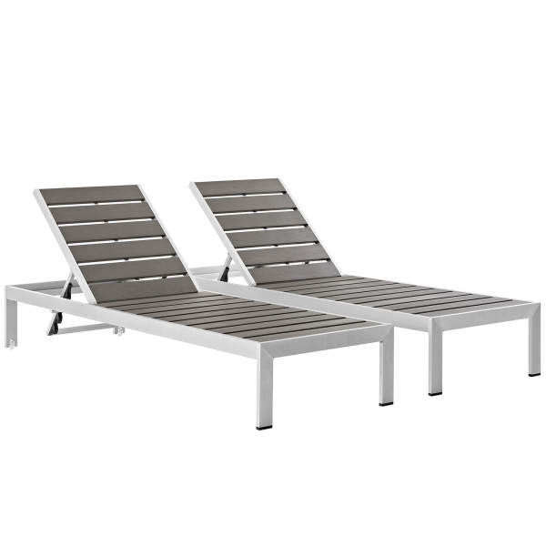 EEI-2467-SLV-GRY-SET Shore Chaise Outdoor Patio Aluminum Set of 2 Silver Gray