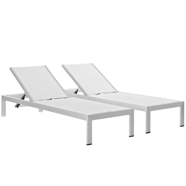 EEI-2472-SLV-WHI-SET Shore Chaise Outdoor Patio Aluminum Set of 2