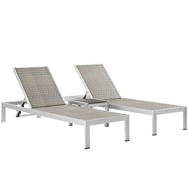 Shore 3 Piece Outdoor Patio Aluminum Set Silver Gray