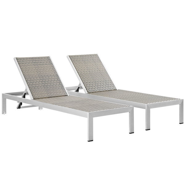 Shore Chaise Outdoor Patio Aluminum Set of 2 Silver Gray
