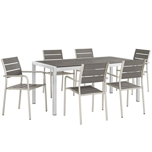 Shore 7 Piece Outdoor Patio Aluminum Dining Set Silver Gray Arm Chairs