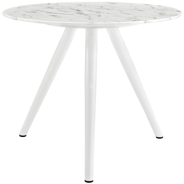 "Lippa 36"" Round Artificial Marble Dining Table with Tripod Base White"