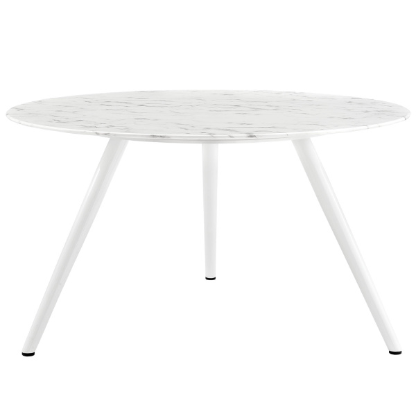 "Lippa 54"" Round Artificial Marble Dining Table with Tripod Base White"