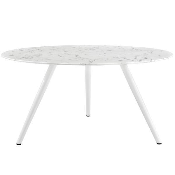 "Lippa 60"" Round Artificial Marble Dining Table with Tripod Base White"