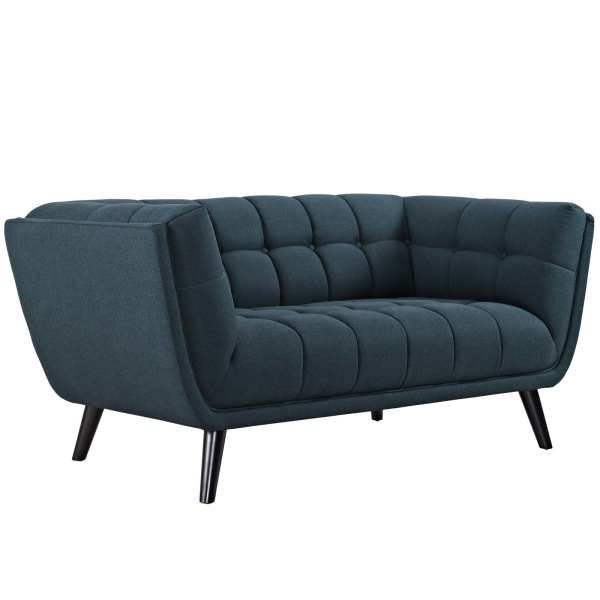 Bestow Upholstered Fabric Loveseat Blue