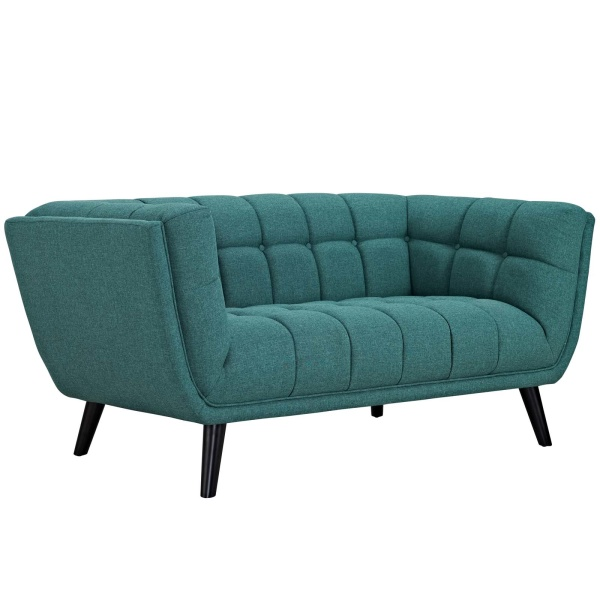 Bestow Upholstered Fabric Loveseat Teal