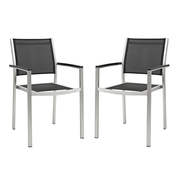 EEI-2586-SLV-BLK-SET Shore Dining Chair Outdoor Patio Aluminum Set of 2