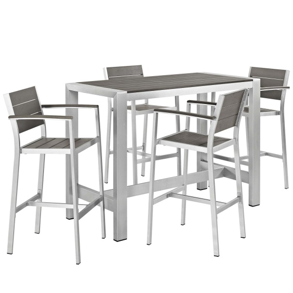 EEI-2588-SLV-GRY-SET Shore 5 Piece Outdoor Patio Aluminum Dining Set Silver Gray Arm Chairs