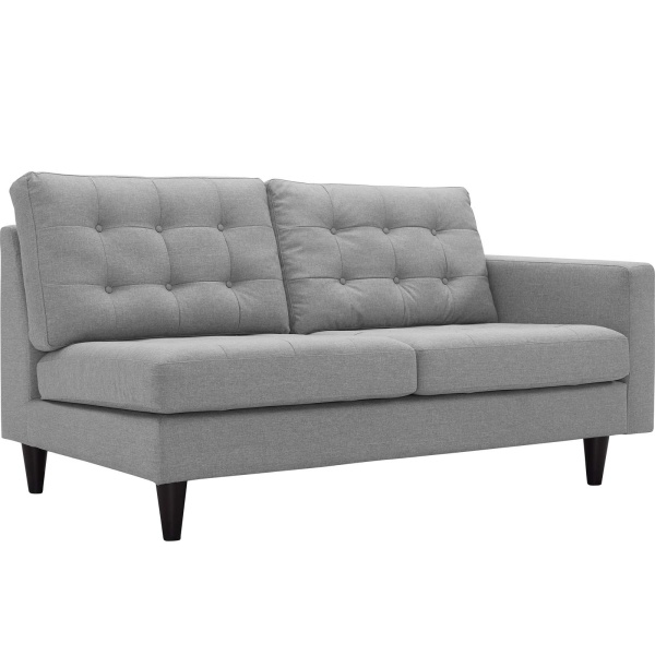 Empress Right-Facing Upholstered Fabric Loveseat Light Gray