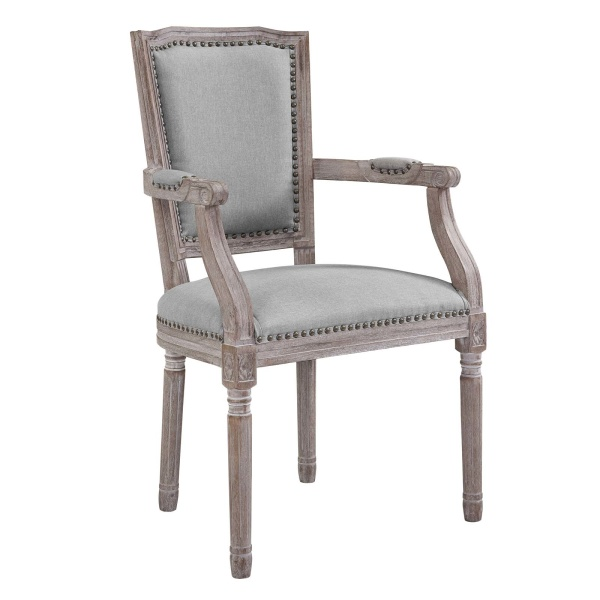 Penchant Vintage French Upholstered Fabric Dining Armchair Light Gray