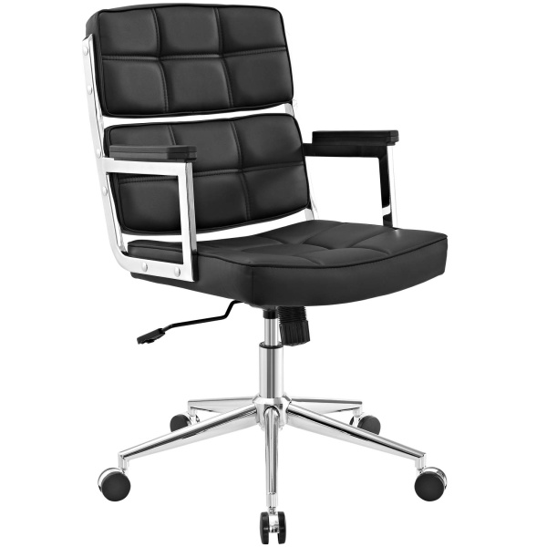 Portray Highback Upholstered Vinyl Office Chair Black