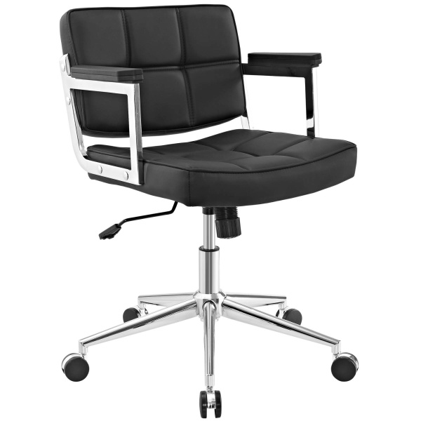 Portray Mid Back Upholstered Vinyl Office Chair Black