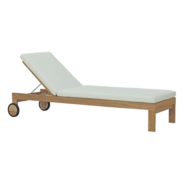 EEI-2711-NAT-WHI Upland Outdoor Patio Teak Chaise Natural White