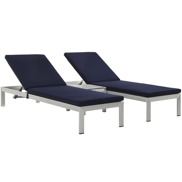 EEI-2736-SLV-NAV-SET Shore 3 Piece Outdoor Patio Aluminum Chaise with Cushions
