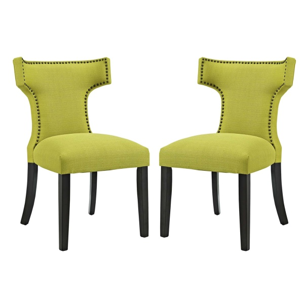 Curve Dining Side Chair Fabric Set of 2 Wheatgrass