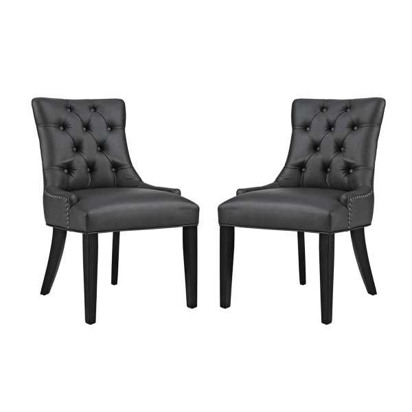 EEI-2742-BLK-SET Regent Dining Side Chair Vinyl Set of 2 Black