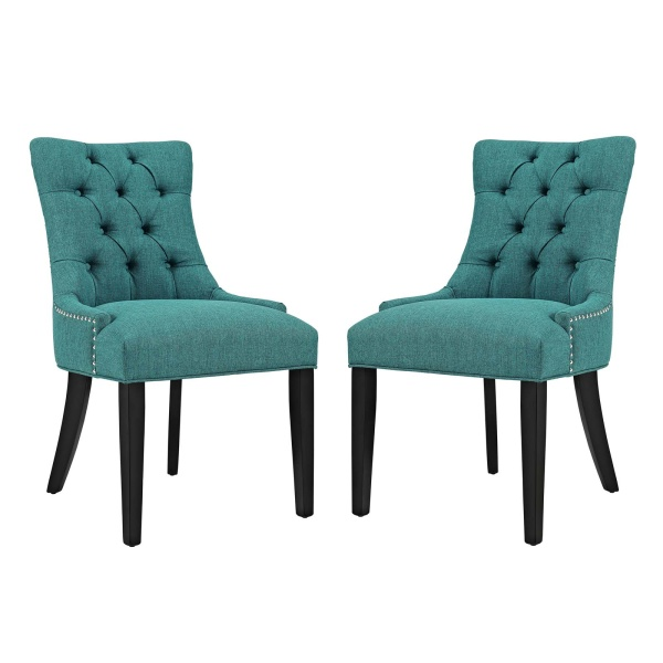 EEI-2743-TEA-SET Regent Dining Side Chair Fabric Set of 2 Teal
