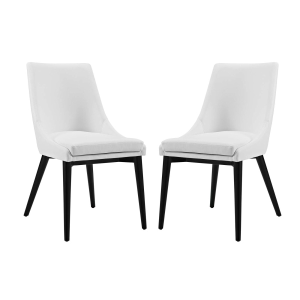 EEI-2744-WHI-SET Viscount Dining Side Chair Vinyl Set of 2 White