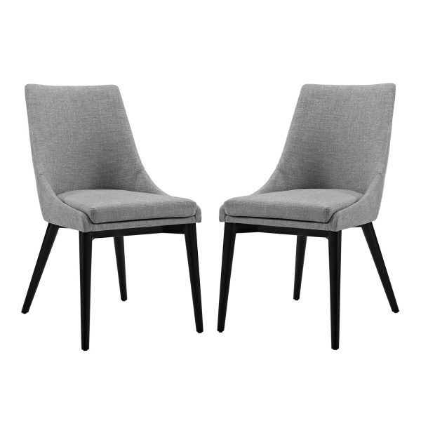 EEI-2745-LGR-SET Viscount Dining Side Chair Fabric Set of 2 Light Gray