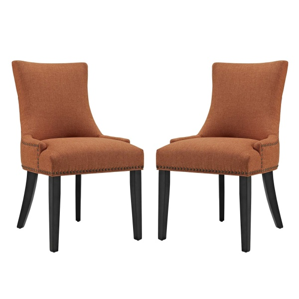 EEI-2746-ORA-SET Marquis Dining Side Chair Fabric Set of 2 Orange