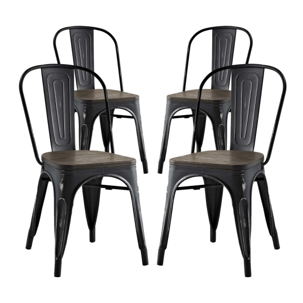 EEI-2752-BLK-SET Promenade Dining Side Chair Set of 4 Black